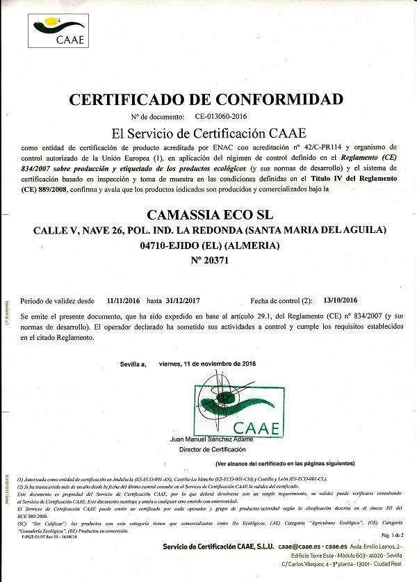 Certificacion ecológica Camassia ECO